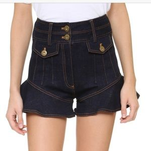 Self portrait denim flounce shorts, size 2, 36UK